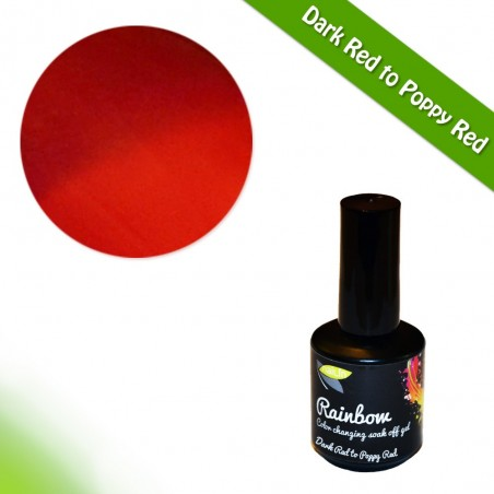 Color Changing Gel Polish, Dark Red to Poppy Red, 15ml