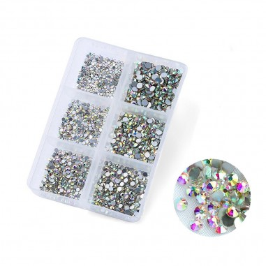 Rhinestones set, Crystal AB, 1,6mm - 3mm, 1680 pcs