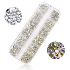 Rhinestones set, Crystal AB & Clear, 1,6mm - 4mm, 1440 pcs